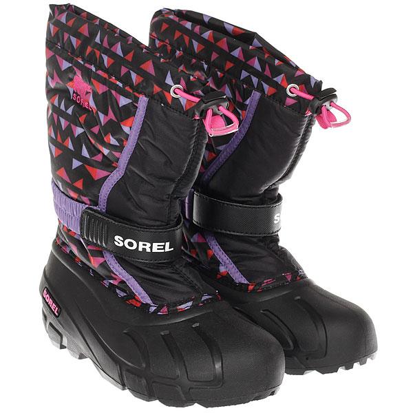 Ботинки для сноуборда детские Sorel Youth Flurry Print black Pink Ice