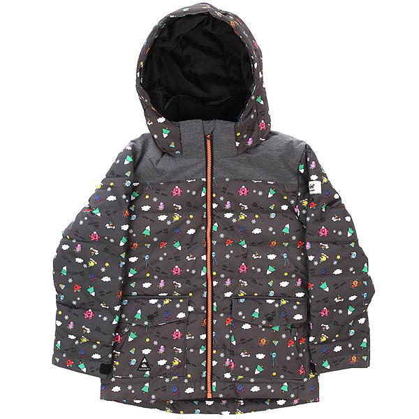 Куртка зимняя детский Quiksilver Mr Men ConversationalТеплая одежда - залог комфорта в условиях зимы. А для детей - в первую очередь. Именно поэтому у куртки Quiksilver Mr Men хороший и легкий утеплитель, который гарантирует Вашему ребенку отличное настроение во время затяжных прогулок на свежем воздухе. Удобный капюшон, проклеенные швы, мембранная ткань с хорошими показателями, система крепления варежек и регулировка длины рукавов, позволяющая использовать эту куртку несколько сезонов подряд - все это делает ее отличным вариантом на предстоящий сезон. Характеристики:Стандартный крой.Мембрана: водостойкая 10K Quiksilver DryFlight®.Материал: синтетический оксфорд (основной), прочное сочетание нейлона и полиэстера (верх). Утеплитель: наполнитель Warmflight® Polyfill 200 г. Проклеенные в стратегических местах швы.Подкладка из тафты. Система крепления варежек. Съемный капюшон со съемной оторочкой из искусственного меха. Система «на вырост» (рукава куртки с регулировкой длины растут вместе с ребенком!). Два кармана для рук с доступом на молнии. Два накладных карго-кармана. Застегивается на молнию по всей длине.Регулируемые манжеты. Тканая этикетка с логотипом на рукаве.<br><br>Цвет: мультиколор<br>Тип: Куртка зимняя<br>Возраст: Детский