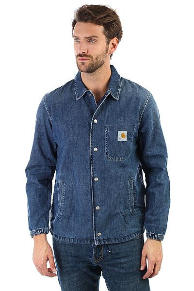 Рубашка Carhartt WIP Denim Coach Jacket Blue True Stone<br><br>Цвет: синий<br>Тип: Рубашка<br>Возраст: Взрослый<br>Пол: Мужской