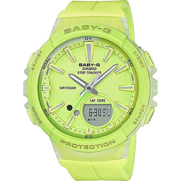 Кварцевые часы женские Casio G-Shock Baby-g Bgs-100-9a YellowНаручные часы Baby-G Step Tracker с шагомером рассчитаны на женщин, которые занимаются фитнесом, но при этом любят оставаться модными на протяжении всего дня.Характеристики:Противоударный корпусзащищает механизм от ударов и вибрации. Яркая двойная светодиодная подсветка обеспечивает освещение не только ЖК-дисплея, но и всего циферблата. Шагомер измеряет количество шагов от 0 до 999999. Графическое отображение пройденных шагов за последние 5ч. История ежедневных данных за 8 дней, еженедельных данных за 4 недели. Установка цели в диапазоне от 1000 до 50 000. Звуковое напоминание об отсутствии активности.Светонакопительное покрытие необрит продолжает светиться в темноте даже после непродолжительного пребывания на свету.Второй часовой пояс.12-ти и 24-х часовой форматвремени. Секундомер с двумя точностями показаний: 1/100с (до 1ч) и 1с (после 1ч) и временем измерения 24ч.Таймер обратного отсчета от 1мин до 100мин.Функция перемещения стрелок. Функция включения/отключения звука.<br><br>Цвет: Светло-зеленый<br>Тип: Кварцевые часы<br>Возраст: Взрослый<br>Пол: Женский