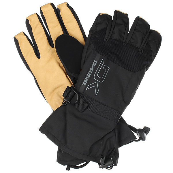 Варежки Dakine Leather Scout Glove Black/Tan перчатки сноубордические dakine scout glove heather