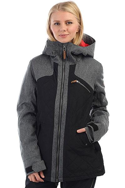 Куртка утепленная женская Roxy Journey True BlackСноубордическая куртка Journey.Характеристики:Мембрана:водостойкая 10K ROXY DryFlight®.Материал:плотный полиэстер (основной) + полиэстер кареточного плетения на капюшоне, плечах и рукавах (расцветка «ройбуш») + полиэстер простого плетения на капюшоне, плечах и рукавах (черная расцветка). Крой:удлиненный приталенный (tailored long). Утеплитель:наполнитель Thinsulate™ Type M (100 г — верх, 150 г — стеганые части).Подкладка:легкая тафта из переработанного полиэстера + фактурная тафта и трикотаж с начесом. Прочие характеристики:мягкая защита подбородка + карабин для ключей. Швы:все основные швы проклеены. Капюшон:фиксированный и с регулировкой. Противоснежная юбка:выполнена из тафты (не отстегивается) + застегивается на кнопки. Система пристегивания:куртку и штаны можно пристегнуть друг к другу. Система застегивания:молния YKK® Metaluxe®.Карманы:нагрудный карман + внутренние карманы для медиаустройств и катальной маски. Карман для скипасса на рукаве. Вентиляция:сеточные вставки под мышками. Манжеты:гейтеры из лайкры с отверстиями для больших пальцев. Воротник из косметотекстиля ENJOY &amp; CARE.<br><br>Цвет: серый,черный<br>Тип: Куртка утепленная<br>Возраст: Взрослый<br>Пол: Женский