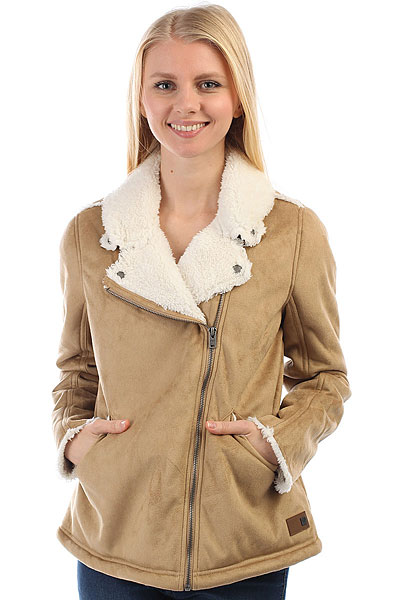 Куртка женская Roxy Lovefound Tobacco BrownЖенская куртка Love Found из искусственной овчины с теплой меховой подкладкой из коллекции Roxy.Технические характеристики: Искусственная овчина.Теплая подкладка из шерпы.Отложной воротник с кнопками.Карманы для рук.Асимметричная застежка на молнию.<br><br>Цвет: бежевый<br>Тип: Куртка<br>Возраст: Взрослый<br>Пол: Женский