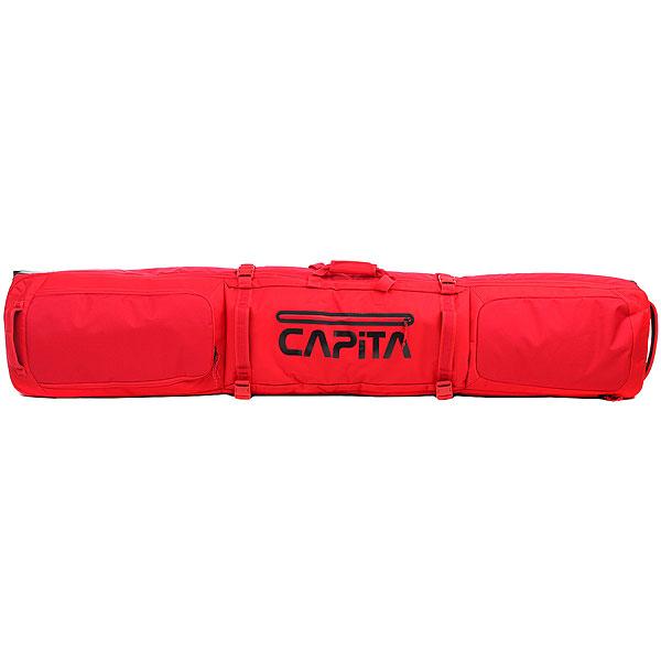 Чехол для сноуборда Capita Roller Board Bag RedОбъемный и прочный чехол - залог сохранности Вашего снаряжения в любом, даже самом длительном путешествии. Прочный полиэстер и защита досок снизу, стрэпы для их крепления внутри чехла, объемные отделения для ботинок и крепления, многочисленные ручки для транспортировки.И, конечно же, колеса - без них перемещать этот чехол было бы совсем уж неудобно. Характеристики:Скейтовые колеса. Объемное основное отделение. Внутренние лямки для фиксации сноуборда в чехле. Компрессионные стрэпы. Торцевые ручки для удобства транспортировки. Две ручки для переноски.Возможность вместить несколько досок. Объемные внешние карманы для аксессуаров на молнии. Надежная контурная молния. Размеры: 166 cm. Материал: полиэстер Ripstop 600D с TPE покрытием.<br><br>Цвет: красный<br>Тип: Чехол для сноуборда<br>Возраст: Взрослый<br>Пол: Мужской