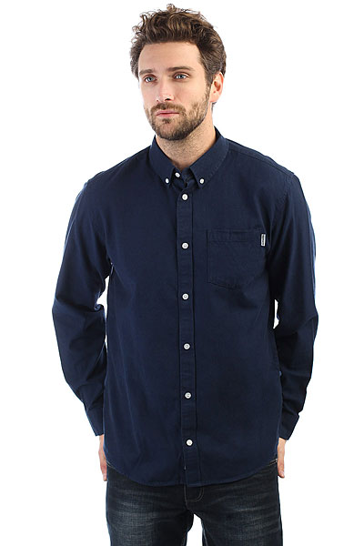 цена Рубашка Carhartt WIP Dalton Shirt Dark Navy/Ink онлайн в 2017 году
