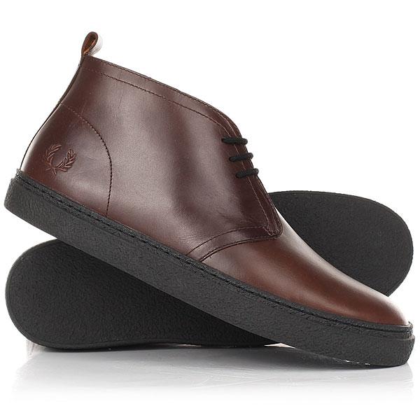 Кеды кроссовки высокие Fred Perry Hawley Mid Leather Brown носки для подарков
