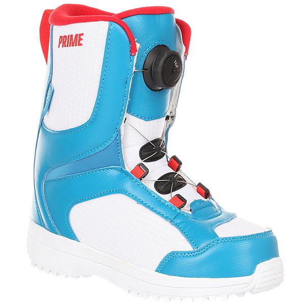 Ботинки для сноуборда детские Prime Come On Blue/WhiteПростые и удобные ботинки с быстрой шнуровкой для подрастающих чемпионов!Технические характеристики: Эко- кожа и водонепроницаемая ткань.Быстрая шнуровка.3D язычок.Анатомический внутренник с поддержкой стопы.Стелька Die cut EVA.Низкопрофильная резиновая подошва.<br><br>Цвет: белый,синий,красный<br>Тип: Ботинки для сноуборда<br>Возраст: Детский