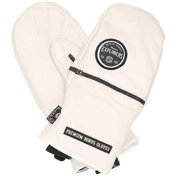 Варежки сноубордические Bonus Gloves Leather WhiteСамые прочные и функциональные варежки в линейке Bonus Gloves выполнены из натуральной кожи и обладают самыми важными характеристиками для интенсивного катания в любых погодных условиях. Мембранный материал обеспечит сухость и тепло рукам, а карман для ски-пасса - быстрое и комфортное прохождение на подъемник. Чем выше функциональность экипировки, тем больше времени на само катание, именно это правило делает Bonus Gloves Leather достойным выбором, а главного героя команды – одним из лучших профессиональных мировых райдеров.Характеристики:Водонепроницаемый мембранный материал.Натуральная кожа. Карман для ски-пасса на молнии. Прочный износостойкий материал. Регулируемый стреп.<br><br>Цвет: белый<br>Тип: Варежки сноубордические<br>Возраст: Взрослый<br>Пол: Мужской