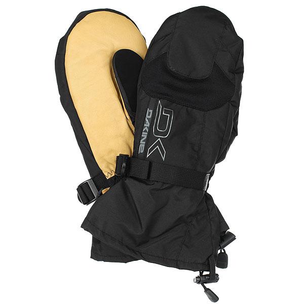Варежки сноубордические Dakine Leather Scout Mitt Black/Tan варежки женские roxy victoria mitt hawaian ocean