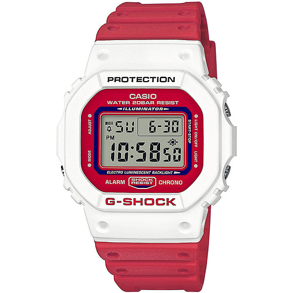 Электронные часы Casio G-Shock Dw-5600tb-4a White/RedПрактичные и удобные часы на каждый день в спортивном дизайне.Технические характеристики: Электролюминесцентная подсветка.Ударопрочная конструкция защищает от ударов и вибрации.LED-индикатор.Функция секундомера- 1/100 сек. - 24 часа.Таймер - 1/1 сек. - 24 часа.Будильник с многофункциональными звуковыми сигналами.Автоматический календарь.12/24-часовое отображение времени.Минеральное стекло.Корпус из полимерного пластика.Ремешок из полимерного материала.Срок службы аккумулятора 2 года.<br><br>Цвет: красный,белый<br>Тип: Электронные часы<br>Возраст: Взрослый<br>Пол: Мужской
