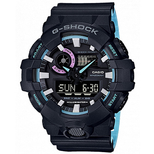 Электронные часы Casio G-Shock Ga-700pc-1a Black/Light Blue часы casio g shock ga 110mb 1a black
