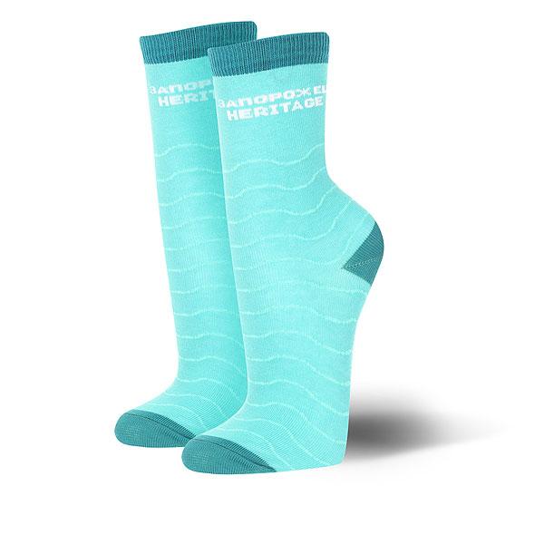 Носки средние женские Запорожец Волны Светло-зеленые<br><br>Цвет: голубой<br>Тип: Носки средние<br>Возраст: Взрослый<br>Пол: Женский
