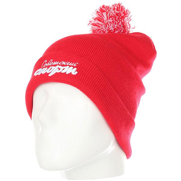 Шапка носок Запорожец Х Советский Спорт Logo Pom Beanies Red шапка запорожец ornament beanies dark green