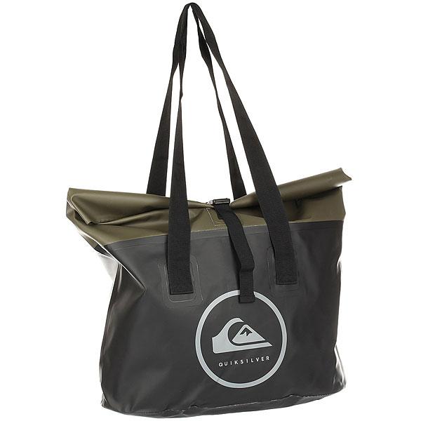 Сумка Quiksilver Sea Tote FatigueВодонепроницаемая пляжная сумка Sea Tote из коллекции Quiksilver.Технические характеристики: Водонепроницаемый брезент.Одно основное отделение с внутренним карманом.Идеально подходит для хранения гидрокостюма.Ручки для переноски.<br><br>Цвет: черный,зеленый<br>Тип: Сумка<br>Возраст: Взрослый<br>Пол: Мужской