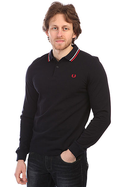 Поло Fred Perry Twin Tipped Shirt Dark Navy рубашка поло la martina рубашка поло