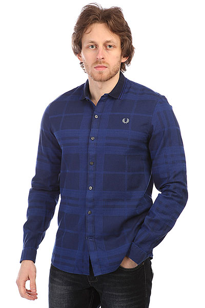 Рубашка в клетку Fred Perry Knitted Collar Check Navy рубашка в клетку insight fred sonic weed green