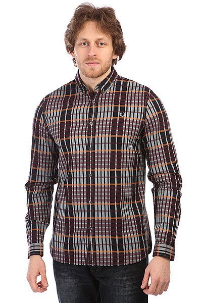Рубашка в клетку Fred Perry Twill Check Shirt Burgundy рубашка поло la martina рубашка поло
