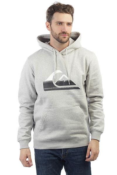 Толстовка кенгуру Quiksilver Big Logo Hood Light Grey Heather портафильтры