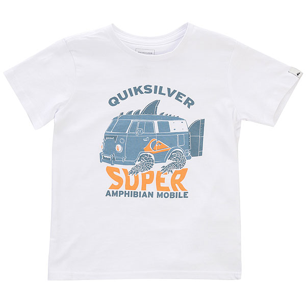 Футболка детская Quiksilver Amphibian Boy White<br><br>Цвет: белый<br>Тип: Футболка<br>Возраст: Детский