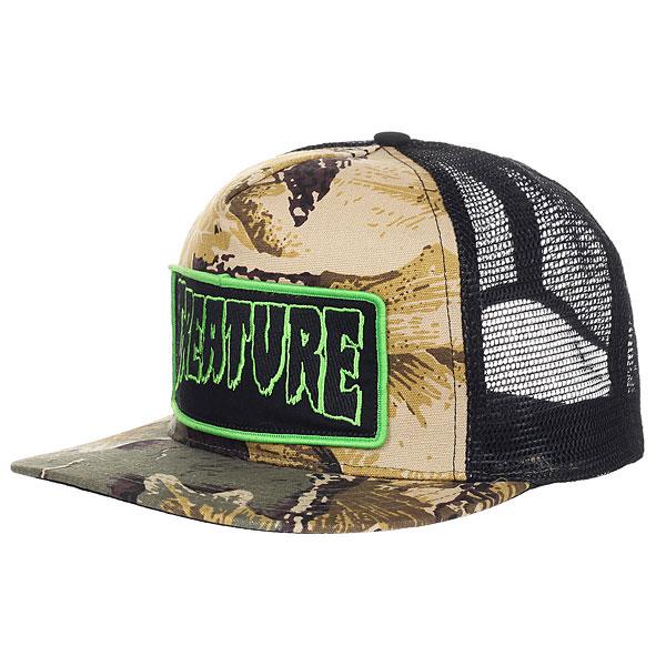 Бейсболка с сеткой Creature Patch Trucker Camo/Black<br><br>Цвет: бежевый,черный,зеленый<br>Тип: Бейсболка с сеткой<br>Возраст: Взрослый