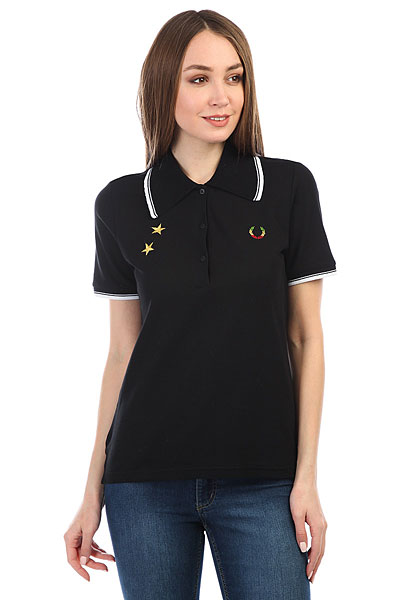 Поло женское Fred Perry Star Embroidered Pique Black