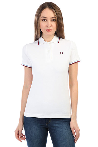 Поло женское Fred Perry Twin Tipped White