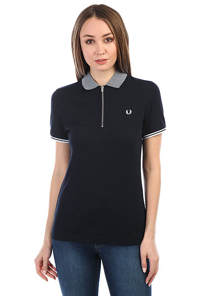 Поло женское Fred Perry Tipped Zip Neck Pique Navy
