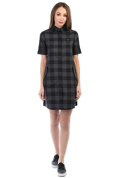 Платье женский Fred Perry Gingham Parka Detail Black/Gray куртка парка женская fred perry wool parka grey