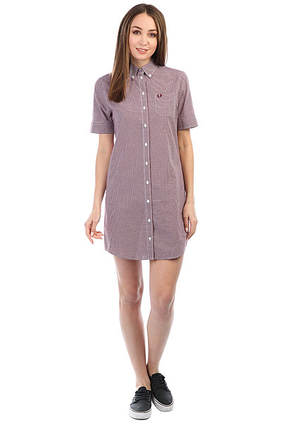 Платье женское Fred Perry Classic Gingham White/Burgundy купить