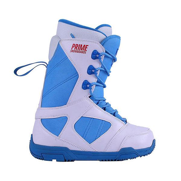 Ботинки для сноуборда женские PRIME Snowboards Classic WhiteСноубордические ботинки для ценителей красивой и удобной экипировки. Небольшой вес, легкая подошва, поддержка голеностопа и классическая шнуровка.Технические характеристики: Искусственная кожа и водонепроницаемая ткань.Классическая шнуровка.3D форма.Стелька Die cut EVA.Резиновая подошва.<br><br>Цвет: белый,голубой<br>Тип: Ботинки для сноуборда<br>Возраст: Взрослый<br>Пол: Женский