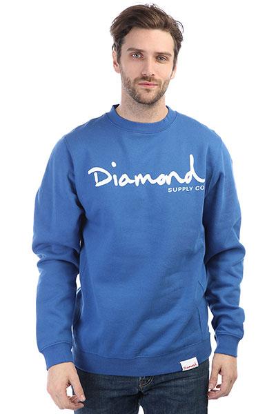 Толстовка классическая Diamond Og Script Crewneck Royal<br><br>Цвет: синий<br>Тип: Толстовка классическая<br>Возраст: Взрослый<br>Пол: Мужской