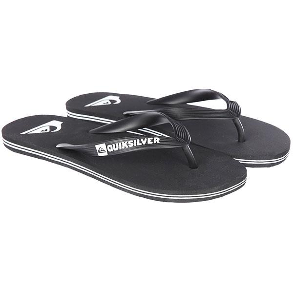 Вьетнамки Quiksilver Molokai Black/Black/White<br><br>Цвет: черный<br>Тип: Вьетнамки<br>Возраст: Взрослый<br>Пол: Мужской