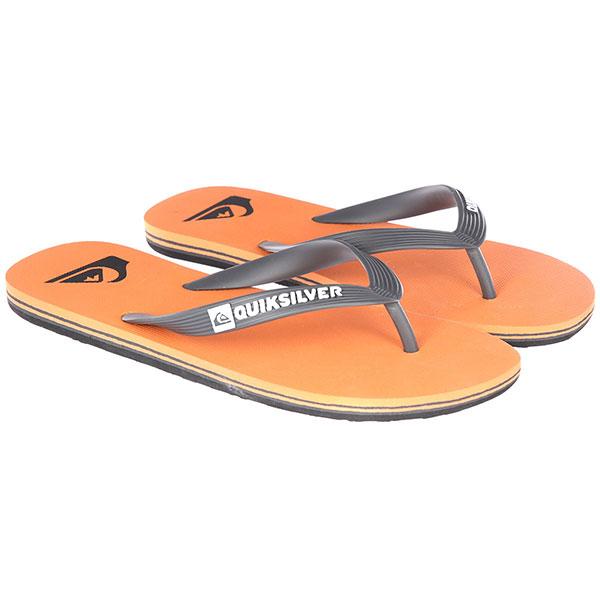 Вьетнамки Quiksilver Molokai Grey/Orange<br><br>Цвет: оранжевый<br>Тип: Вьетнамки<br>Возраст: Взрослый<br>Пол: Мужской