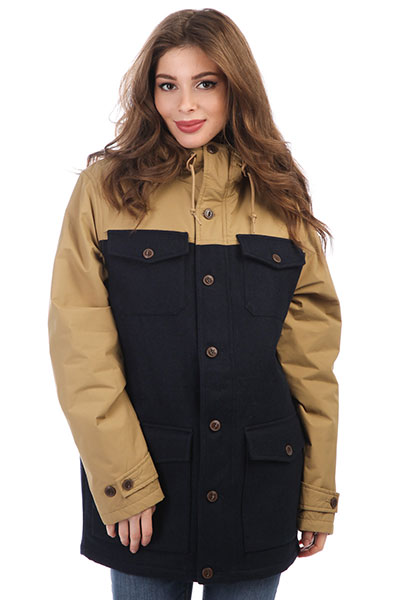 Куртка женская Element Hemlock Wool Safari<br><br>Цвет: синий,бежевый<br>Тип: Куртка<br>Возраст: Взрослый