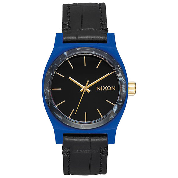 Кварцевые часы женские Nixon Medium Time Teller Leather Navy/Black часы nixon re run leather all black