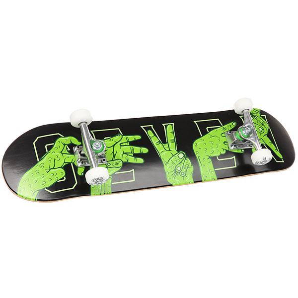 Скейт круизер Seven Swamp Hands 7.8 AssortedЯркий и качественный скейтборд от австралийской фирмы Seven. Отлично подойдет для начинающих, у которых нет опыта в подборе комплектующих по отдельности. В данном случае все решили за Вас, теперь остается только распаковать доску и мчать в ближайший скейтпарк, начав новую страницу в своей жизни. Характеристики:7-слойная декаканадского клена. Длина: 80,6 см (31,75).Ширина: 19,8 см (7,8).Подвески: 12,7 см (5) Valiant Skateboard Trucks. Колеса: 52 мм, жесткость 100А. Подшипники: ABEC7.<br><br>Цвет: черный<br>Тип: Скейт круизер<br>Возраст: Взрослый<br>Пол: Мужской