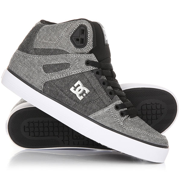 Кеды кроссовки высокие DC Pure Ht Wc Tx Se Grey/White/Grey dc shoes кеды dc council se navy camel 8