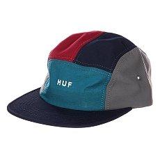 Бейсболка пятипанелька Huf Lo-down Navy/Teal/Wine
