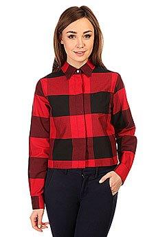 Рубашка в клетку женская Fred Perry Gingham Boxy Shirt Red/Black