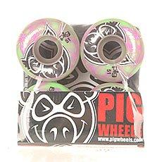 Колеса для скейтборда Pig Head Swirls New Green/Pink 100A 51 mm