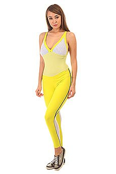 Комбинезон для фитнеса женский CajuBrasil Nz Cigarette Mix Yellow/Navy/White