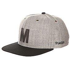Бейсболка с прямым козырьком TrueSpin Abc Snapback Dark Grey/Black Leather-m
