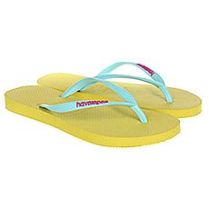Вьетнамки женские Havaianas Slim Logo Light Blue/Yellow