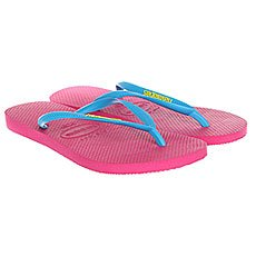 Вьетнамки женские Havaianas Slim Logo Pink/Light Blue
