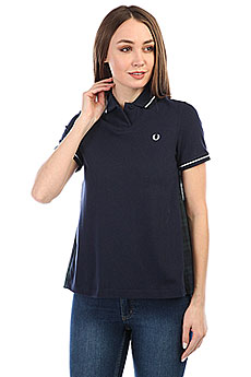 Поло женский Fred Perry Pleat Back Tartan Pique Navy/Green