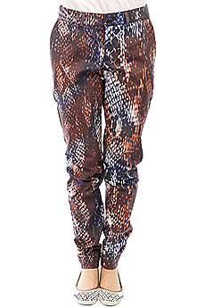 Штаны прямые женские Extra Higher Level Brown Orange Snake Print