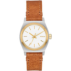 Кварцевые часы женские Nixon Small Time Teller Leather Silver/Gold/White
