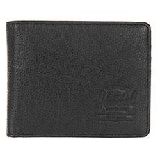 Кошелек Herschel Hank + Coin Leather Rfid Black Pebbled Leather