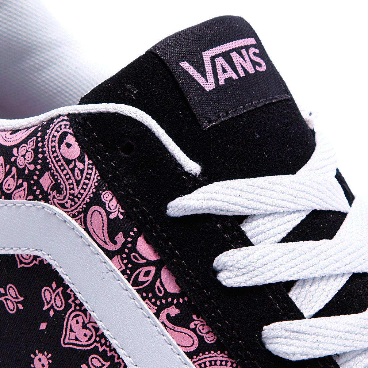 Купить кеды женские Vans Mercer Skull Paisley Black Pink ... 6dfa9a31763