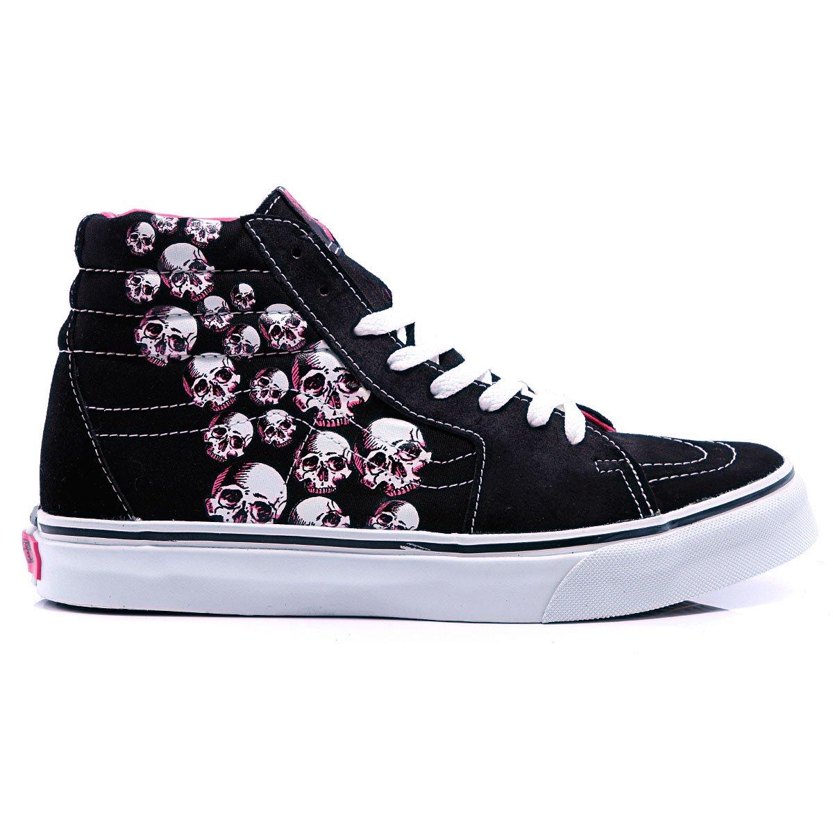Купить кеды высокие Vans Sk8 Hi Black Neon Pink (070711vans44) в ... 2bd5909db38